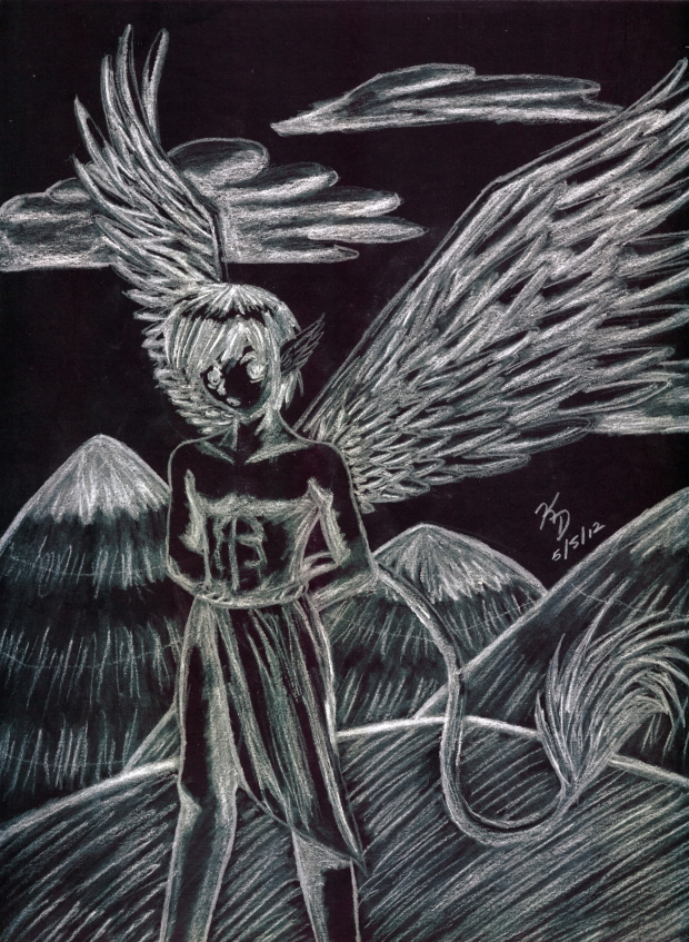 White Charcoal on Artagain -- Winged Boy