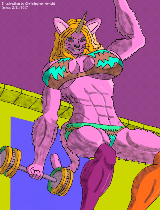 Feline Beauty With a Buff Bikini Bod (Colored)