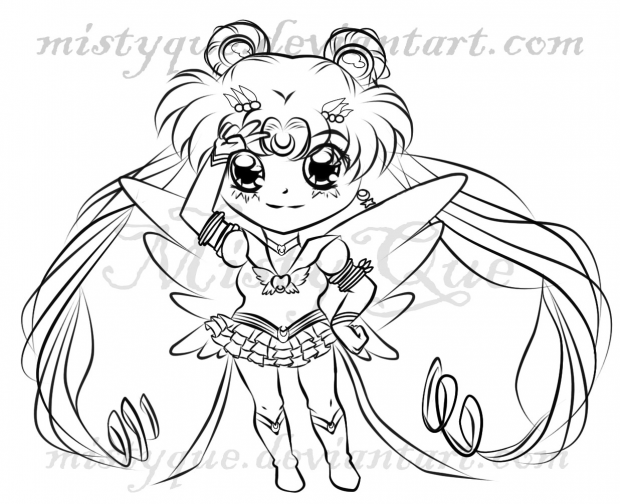 Chibi Eternal Sailor Moon lineart