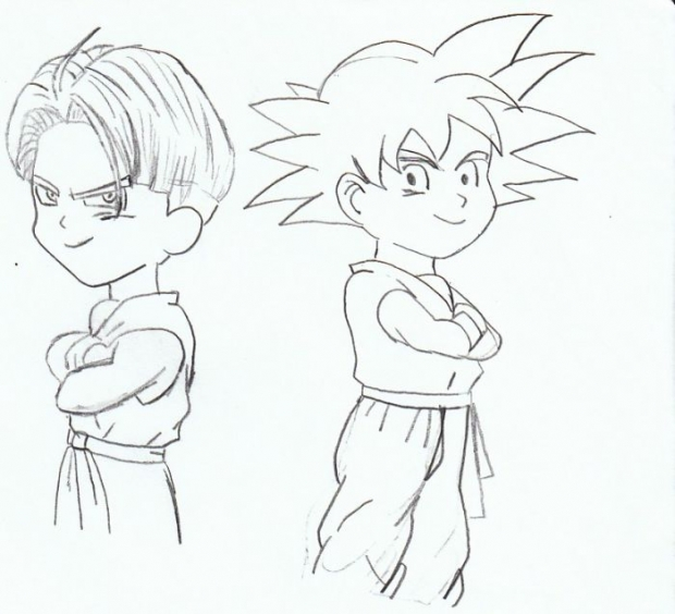 Trunks And Goten Back To Back