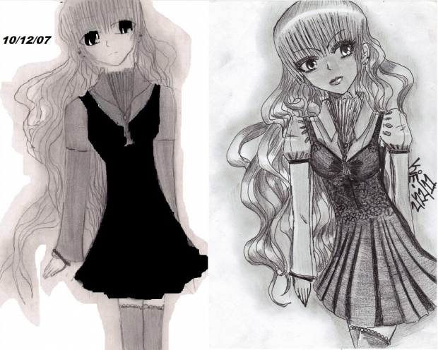 before and after:ominous goth loli