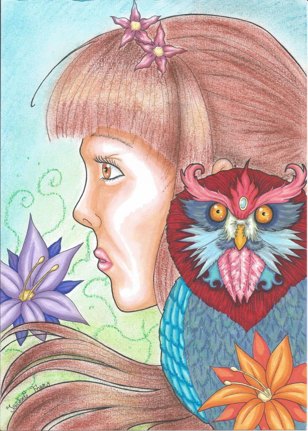 Fantasy girl and owl