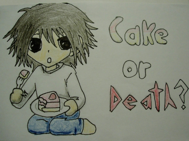 Chibi L with cake