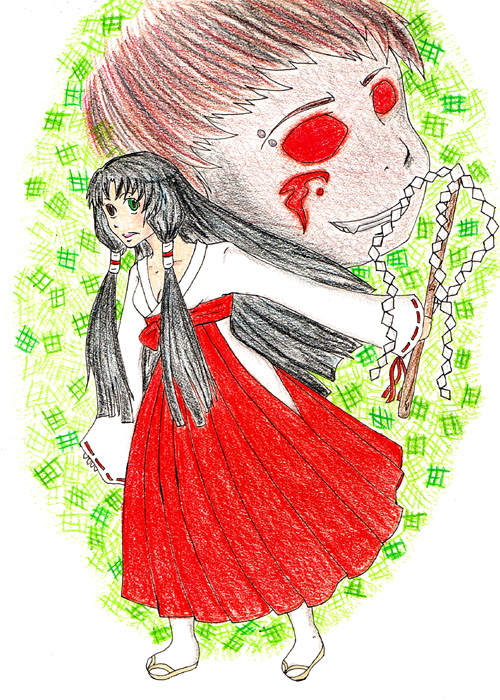 Shrine Maiden and Demon-ish Halloween Picture