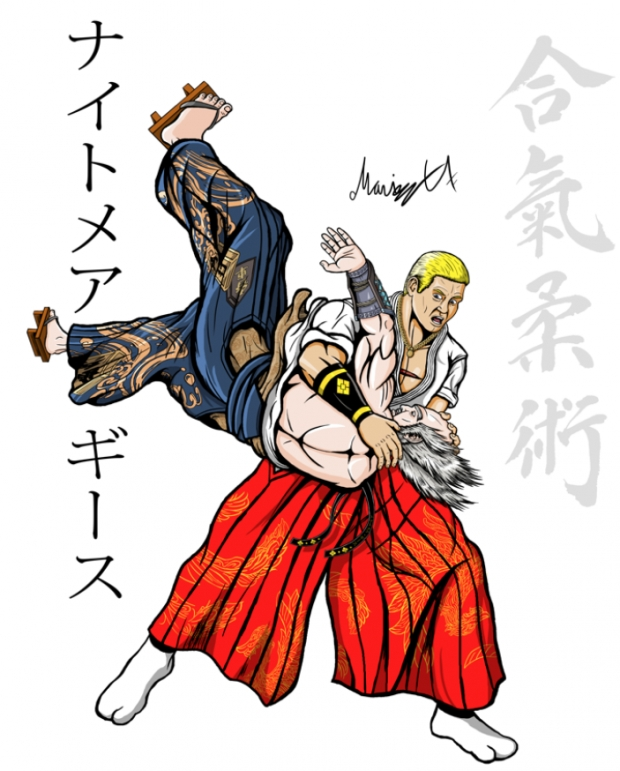 Geese Howard doing Tenchi-nage on Heihachi Colored