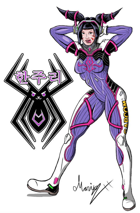 Juri Han cosplays D.va Colored
