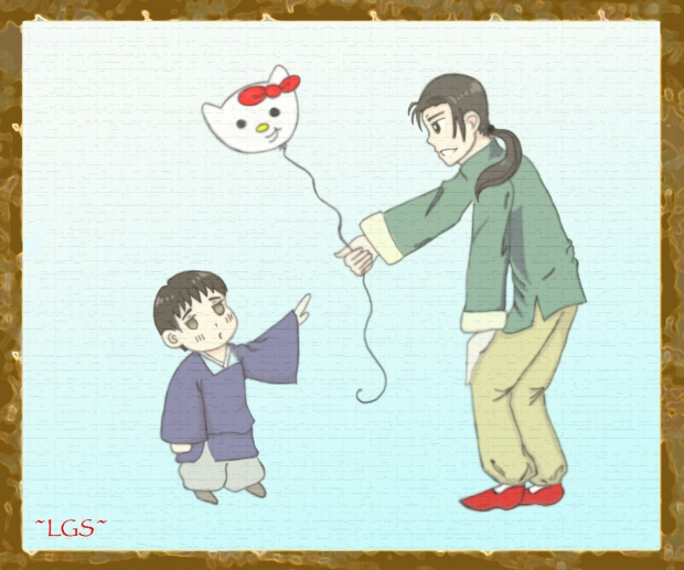Cute moment with China and young Japan