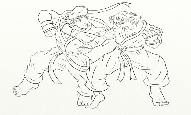 Ryu vs ken lineart by bronx1287 for Ryu coloring pages