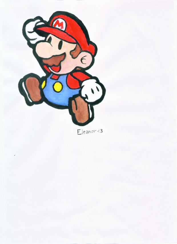 A painting of Paper Mario