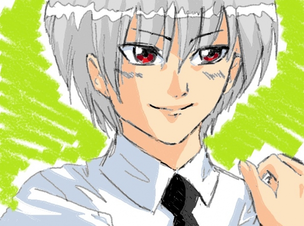 >gray hair with red eyes>