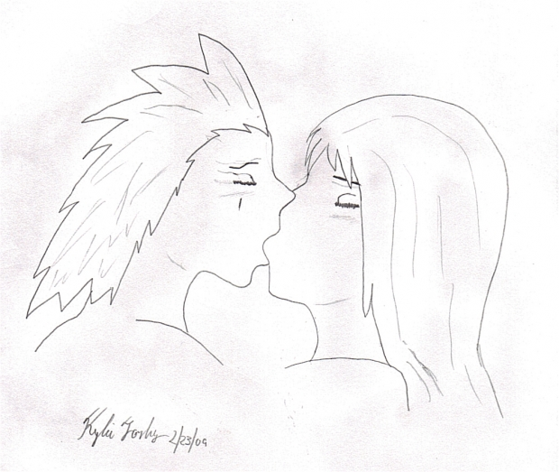 Karter and Axel kiss (black and white)