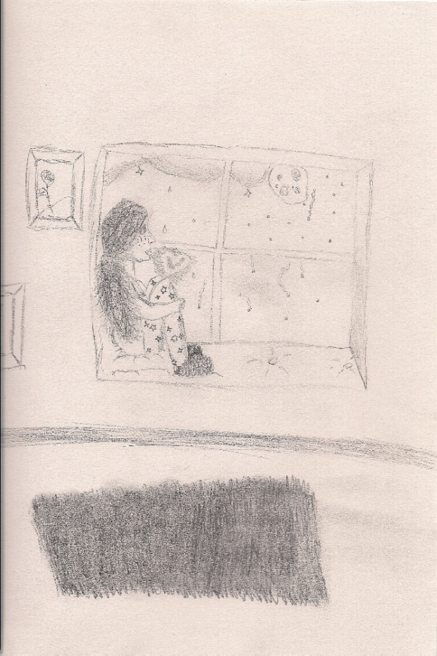 Girl sitting in window