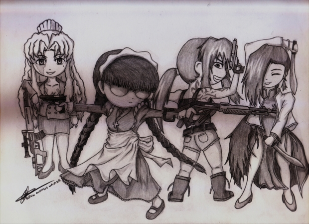 the 4 BAD ASS girls of BLACK LAGOON...