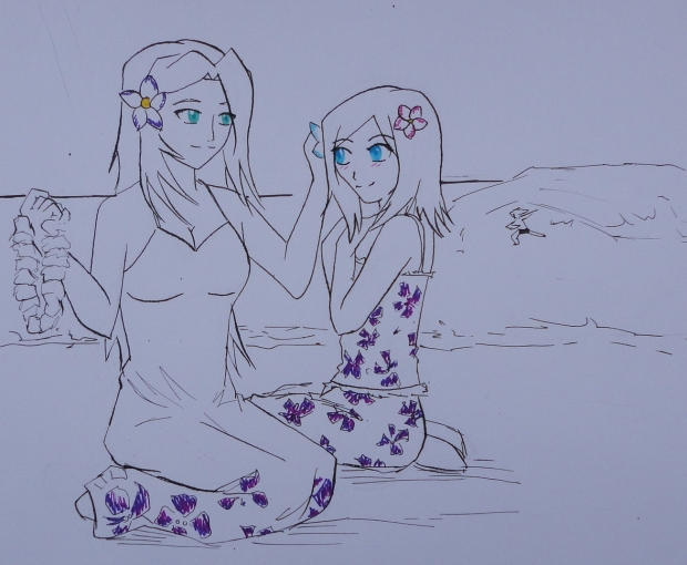 Hawaii Sketch - Roxanne and Kaira