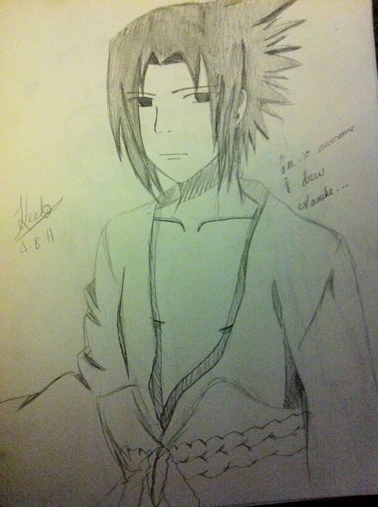 I'm cool, so I drew Sasuke.