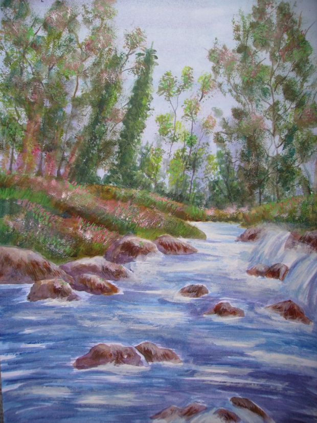 Tree And River Painting