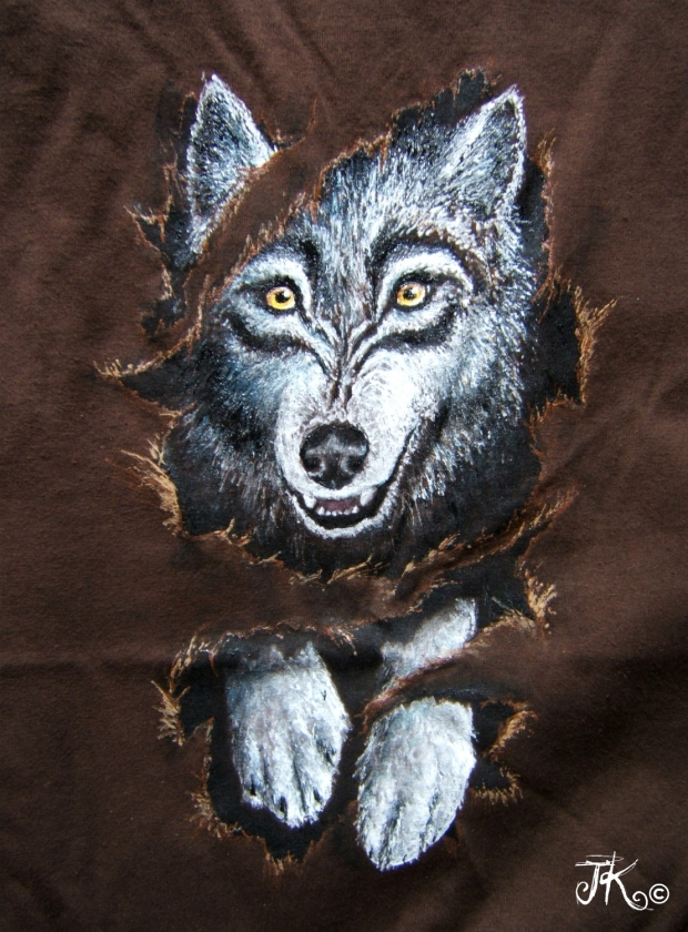 Leaping Through (wolf art on fabric)