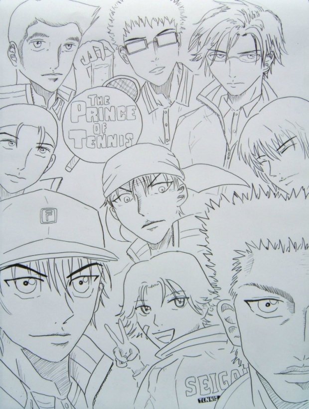 Inking of team Seigaku poster-Prince of Tennis