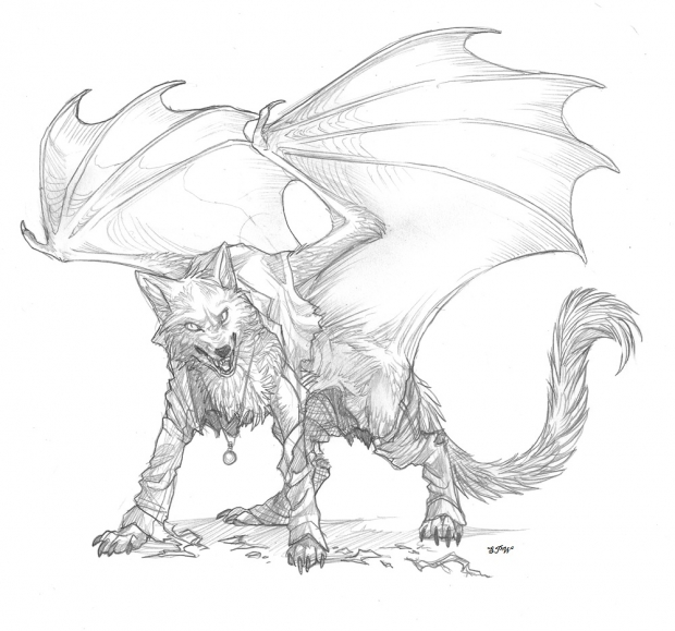 PENCILED winged wolf