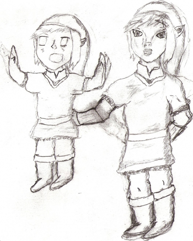Surprised Chibi & Regular Link (Sketch)