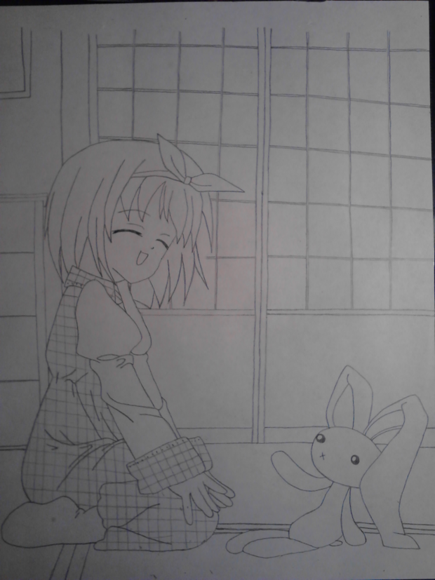 Girl with bunny Drawing