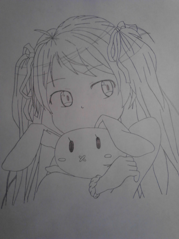 Girl with bunny drawing #2