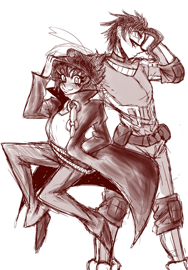 Deku and Jotaro by mootouman