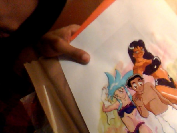 Tenchi And Crew Ryoko Soaking Sweat Fan  Cel