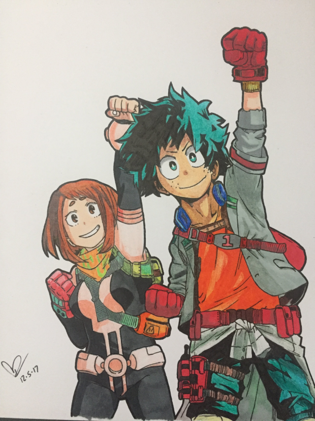 Izuku and Uraraka from My Hero Academia