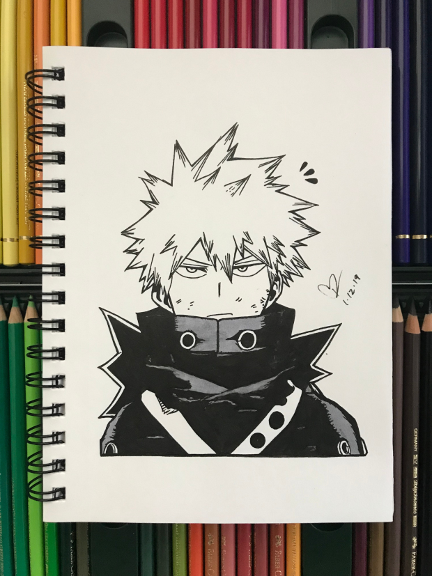 Katsuki Bakugo Ink Drawing