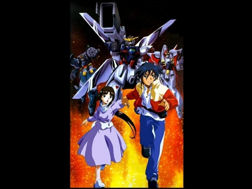Garrod and Tiffa with Gundams